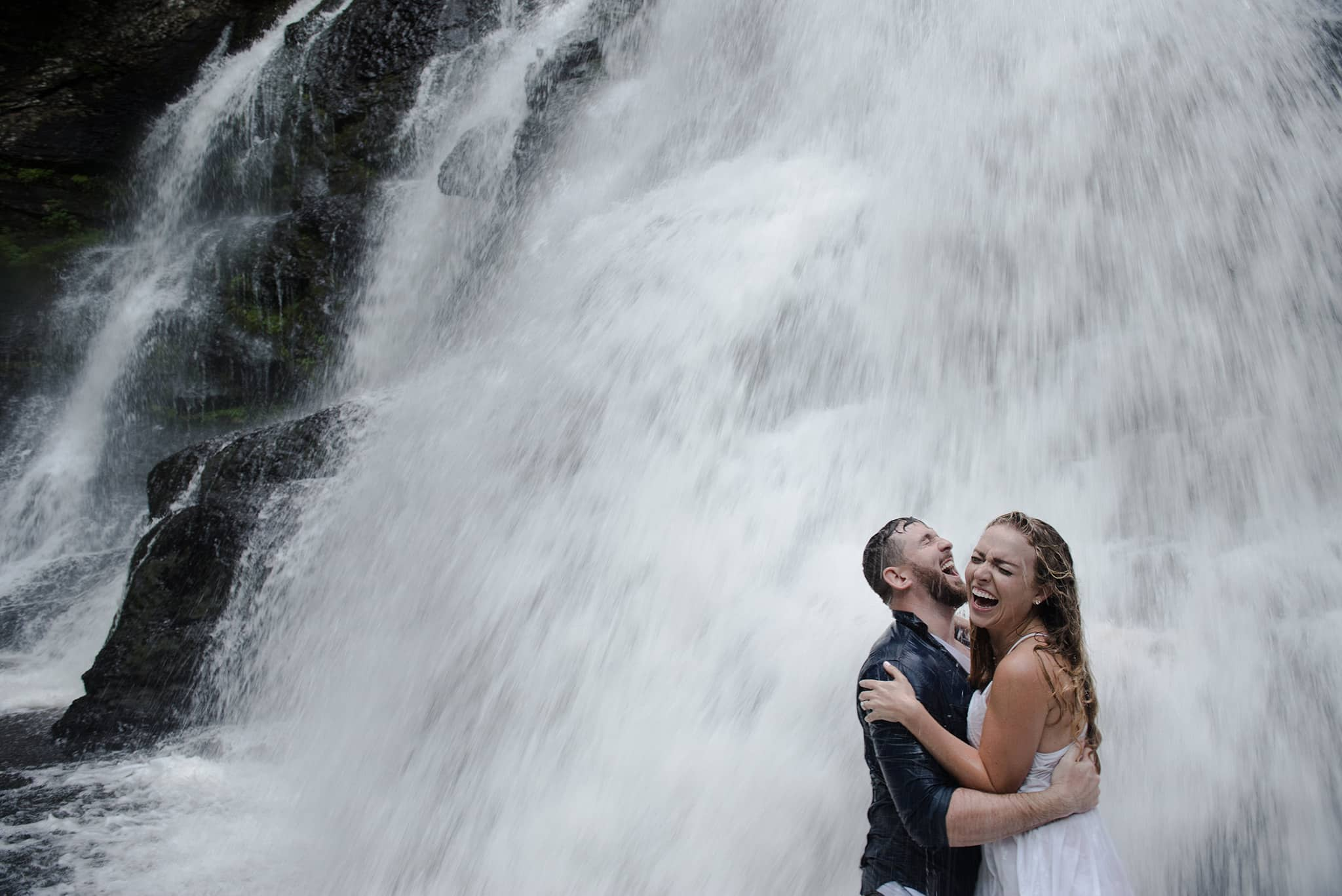 Poconos Waterfall Engagement Photo